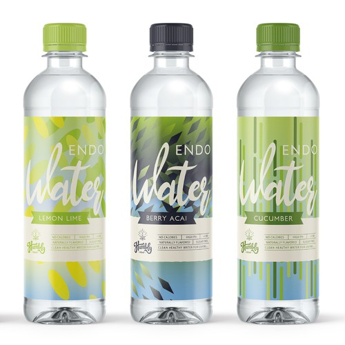 Product Packaging for a line of lightly and naturally flavoured CBD waters.