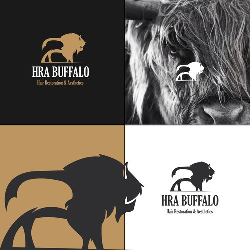 bold negative space buffalo