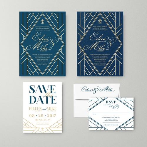 Vintage Brooklyn stlye wedding invitation