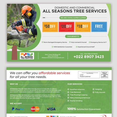Tree Services Coupon Postcard