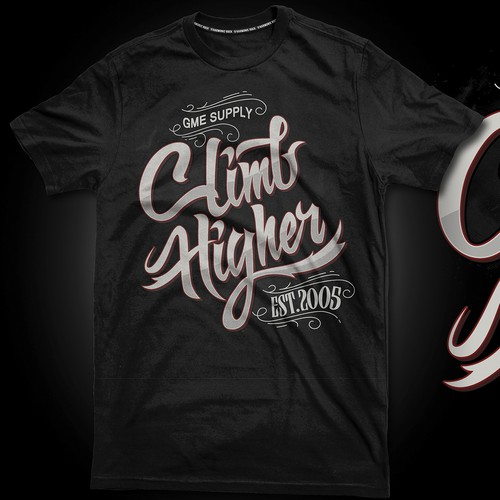 "Rugged, Stylized Design Using The Words ""Climb Higher"""