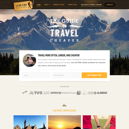 Website Design Concept For Traveling Site