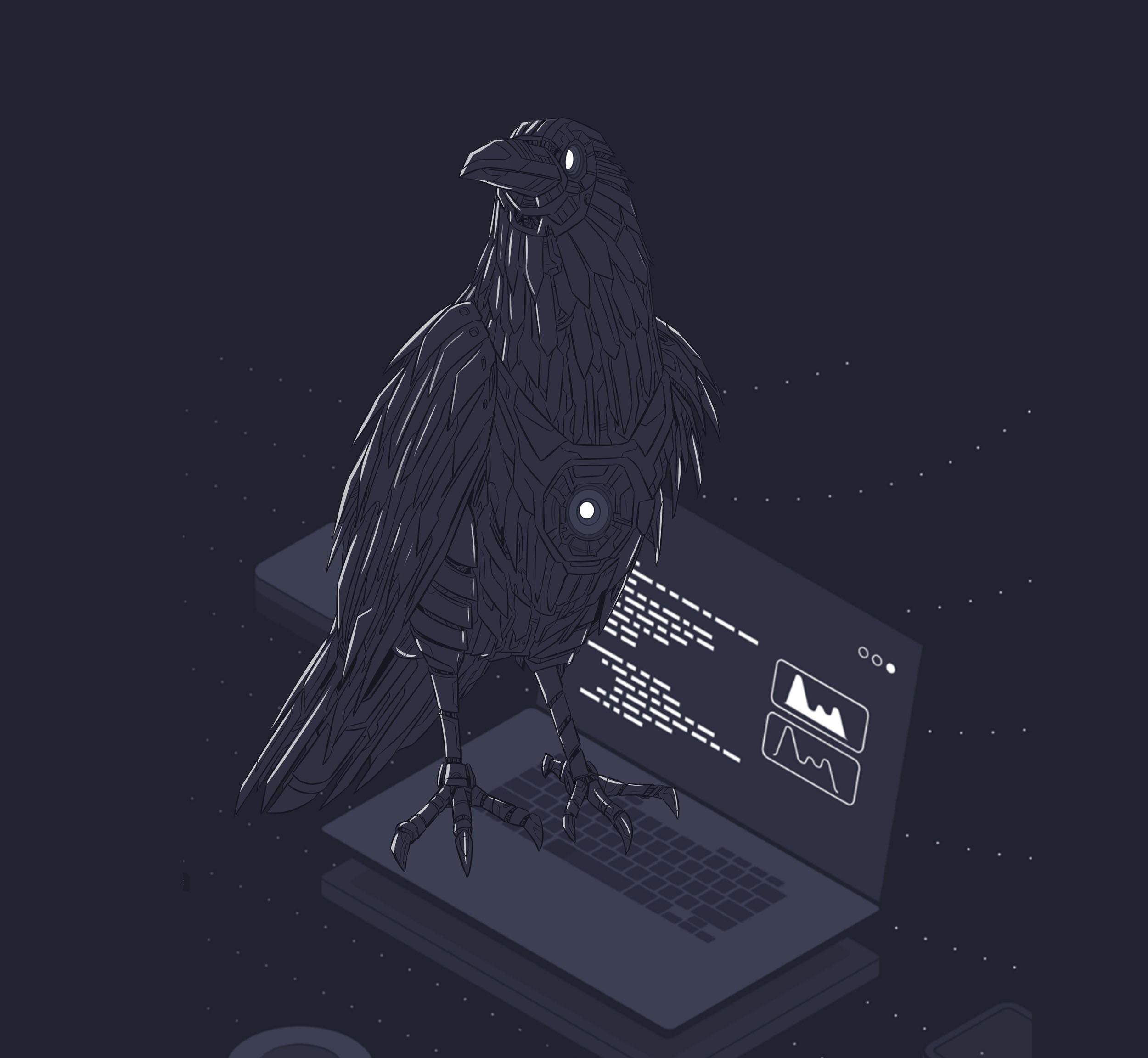 Giant Mechanical Raven Website Illustration