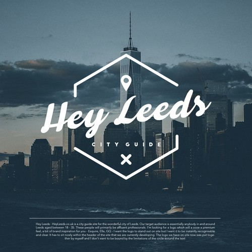 Cursive font Logo design for Hey Leeds City Guide.