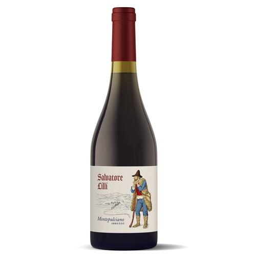 Salvatore Lilli - Montepulicano Italian wine label.
