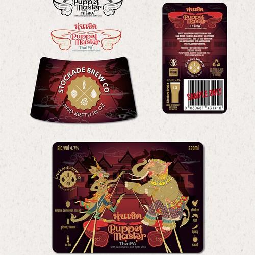 """Puppet Master"" - ""ThaIPA"" beer label design"