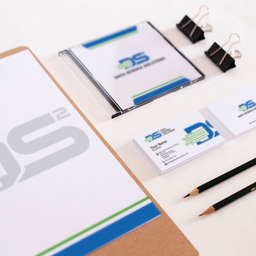 Logo and stationery design for data science solutions