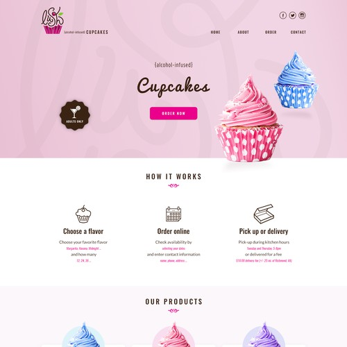 Webdesign for Lush Cupcakes