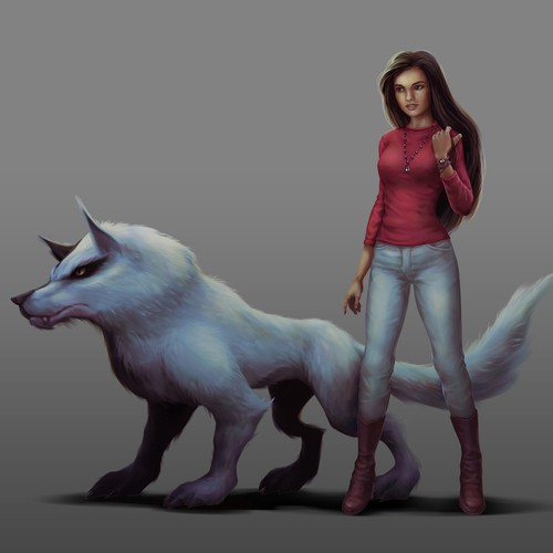 Girl and Wolf Characters Concept