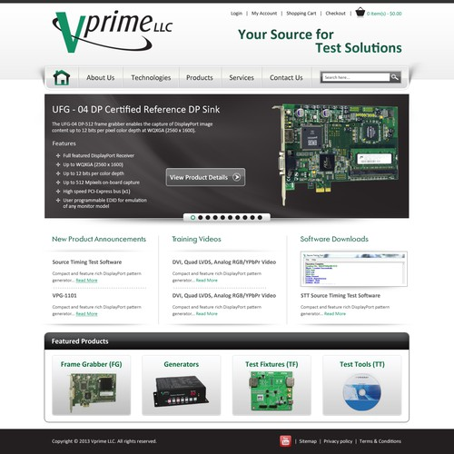Homepage Design for Ecommerce Company - Test Equipment Distributor
