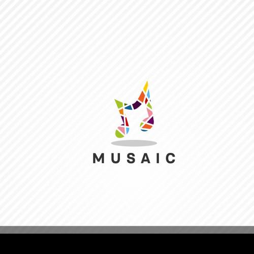 Music & mosaic logo concept