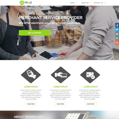 Peak payment landing page design