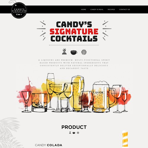 Fun website re-design for Candy's Signature Cocktails & Liqueurs.