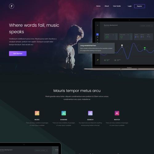 Music platform landing page