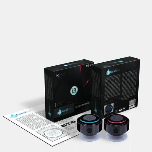 Create an Elegant package design for RepelBox (Bluetooth shower speaker)