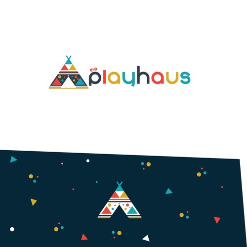 Colorful yet simple geometrical logo for the playcentre for children in Scandinavian style.