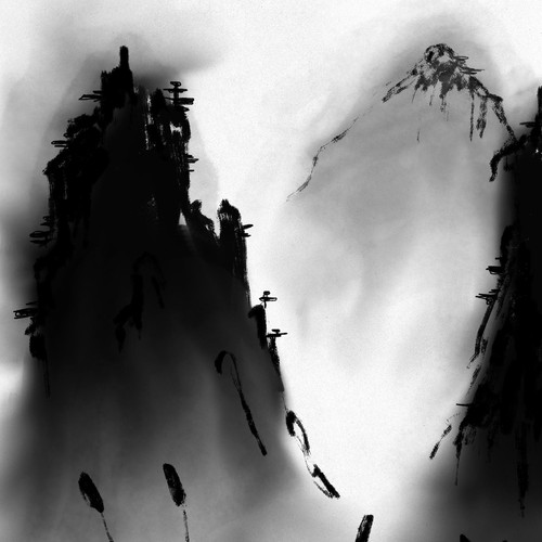 Charcoal illustration for haiku book