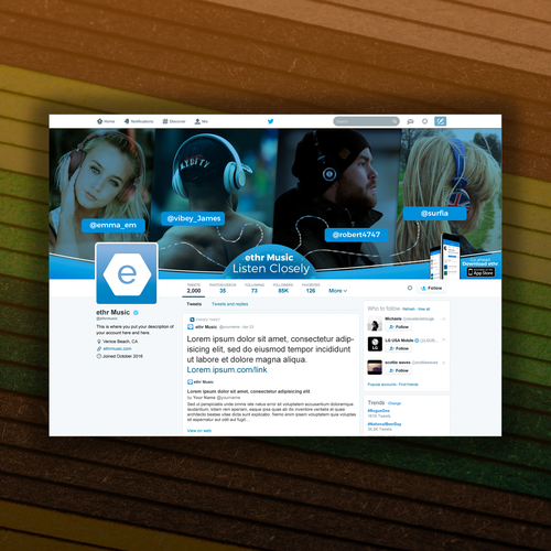 Ether Music Twitter design
