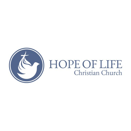 Dove and Cross Logo Design for Hope of Life Christian Church