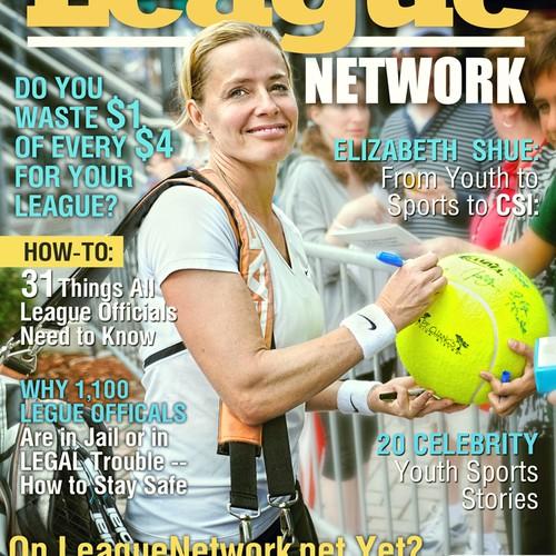 "LeagueNetwork Magazine celebrity cover prototype 8-38"" x 10-7/8"" trimsize"