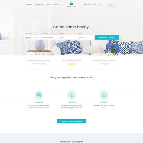 Homepage design for residential cleaning company