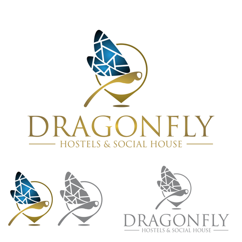 "Logo Concept for ""Dragonfly"" Hostels & Social House"