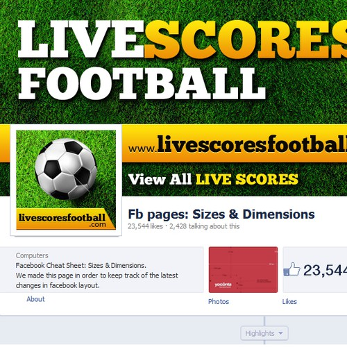 Design a facebook cover and profile picture for Live Scores Football