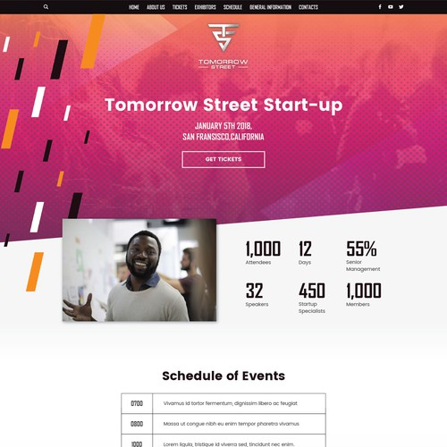 Website concept for Web conference and event