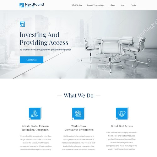 Web design of an Investing company.