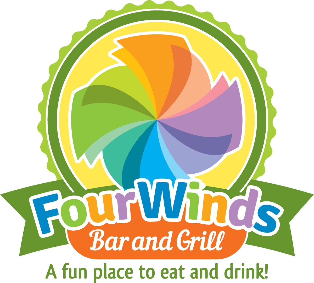 Create a funky and colorful logo for Four Winds Bar and Grill