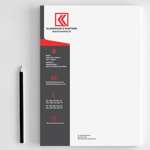 Letter head designs for Klinsman & partner