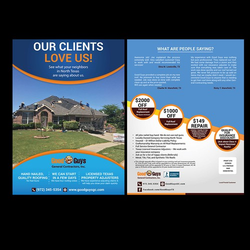Postcard for Roofing Company