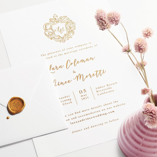 Gold Press Wedding Invitation