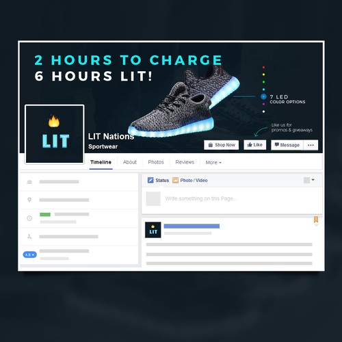 Facebook cover for LED light up shoes company