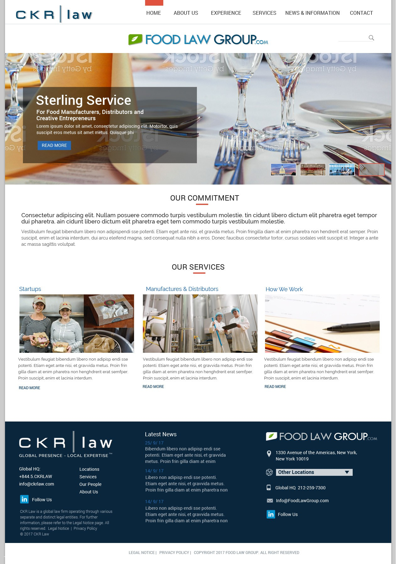 Redesign and Wordpress development of FoodLaw Group Site