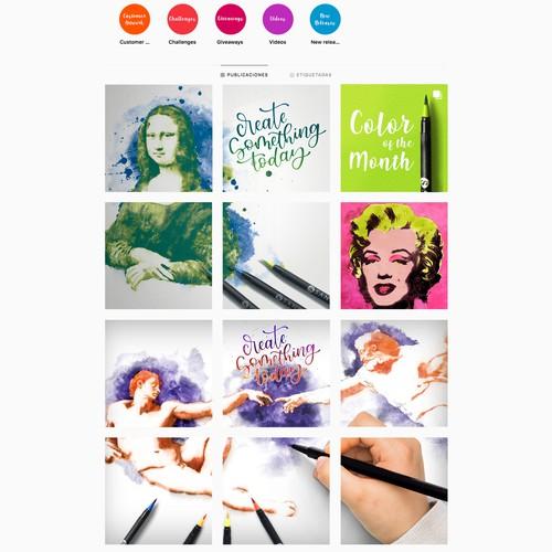 Instagram hand drawn posts concept