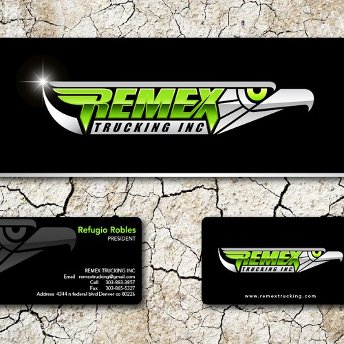 Create the next logo and business card for remex trucking