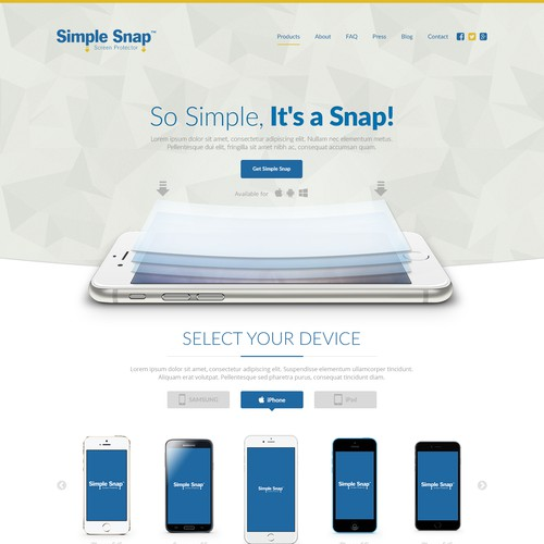 Landing Page for Simple Snap