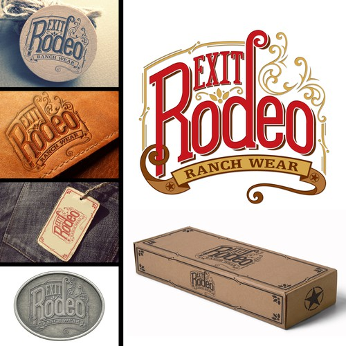 Vintage logo design for Exit Rodeo Ranch Wear