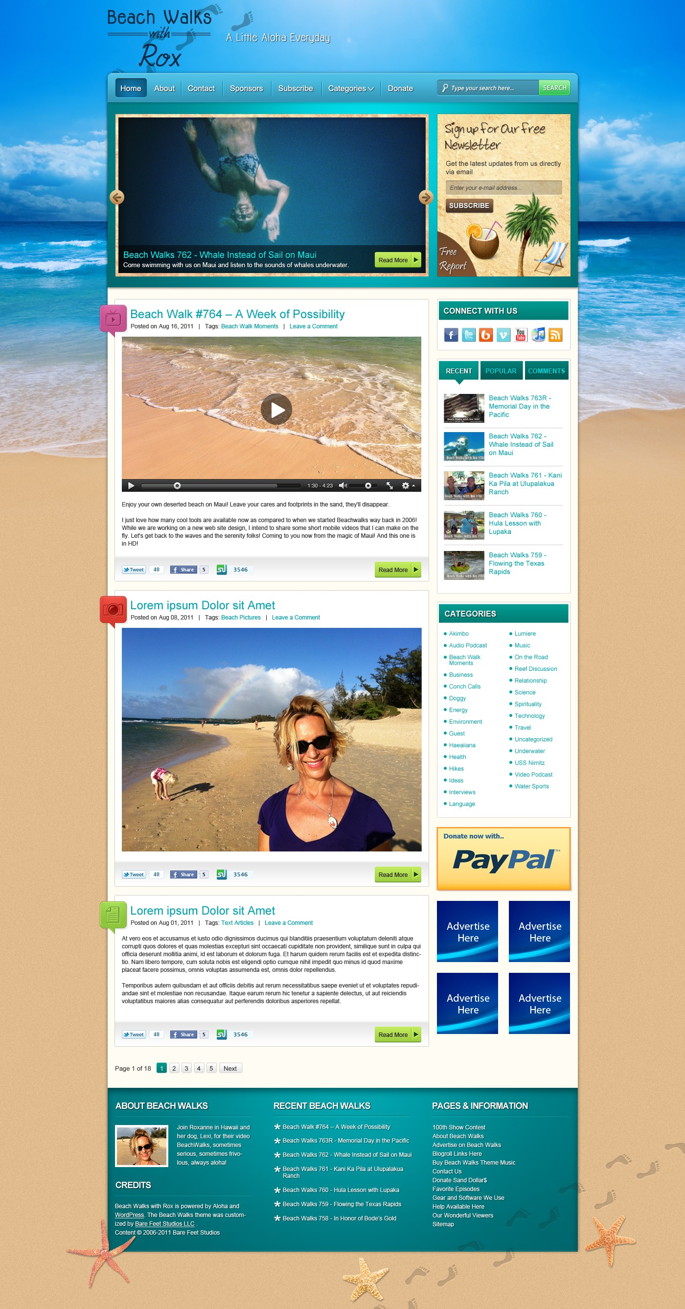 Blog design: Beach Walks with Rox, internet TV show