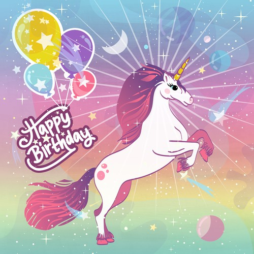 Unicorn birthday box design