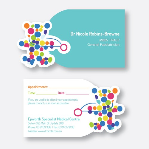 Design a fun, professional business card for a paediatrician