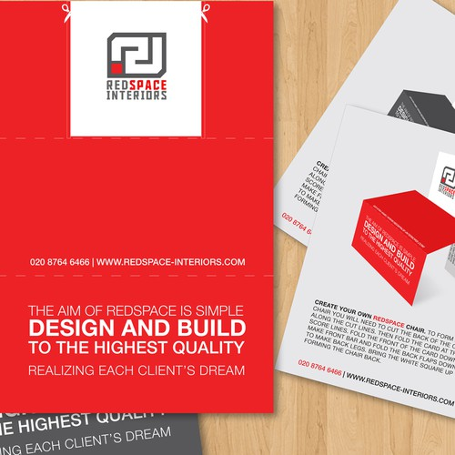 Redspace Interiors need a logo makeover and a quirky clever flyer to impress potential  customers