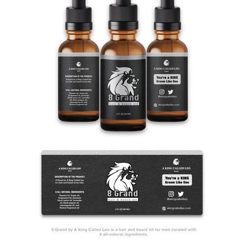minimalist and masculine product label for hair and beard oil