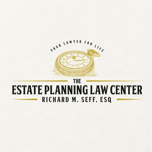 Golden logo for estate planning lawyer.