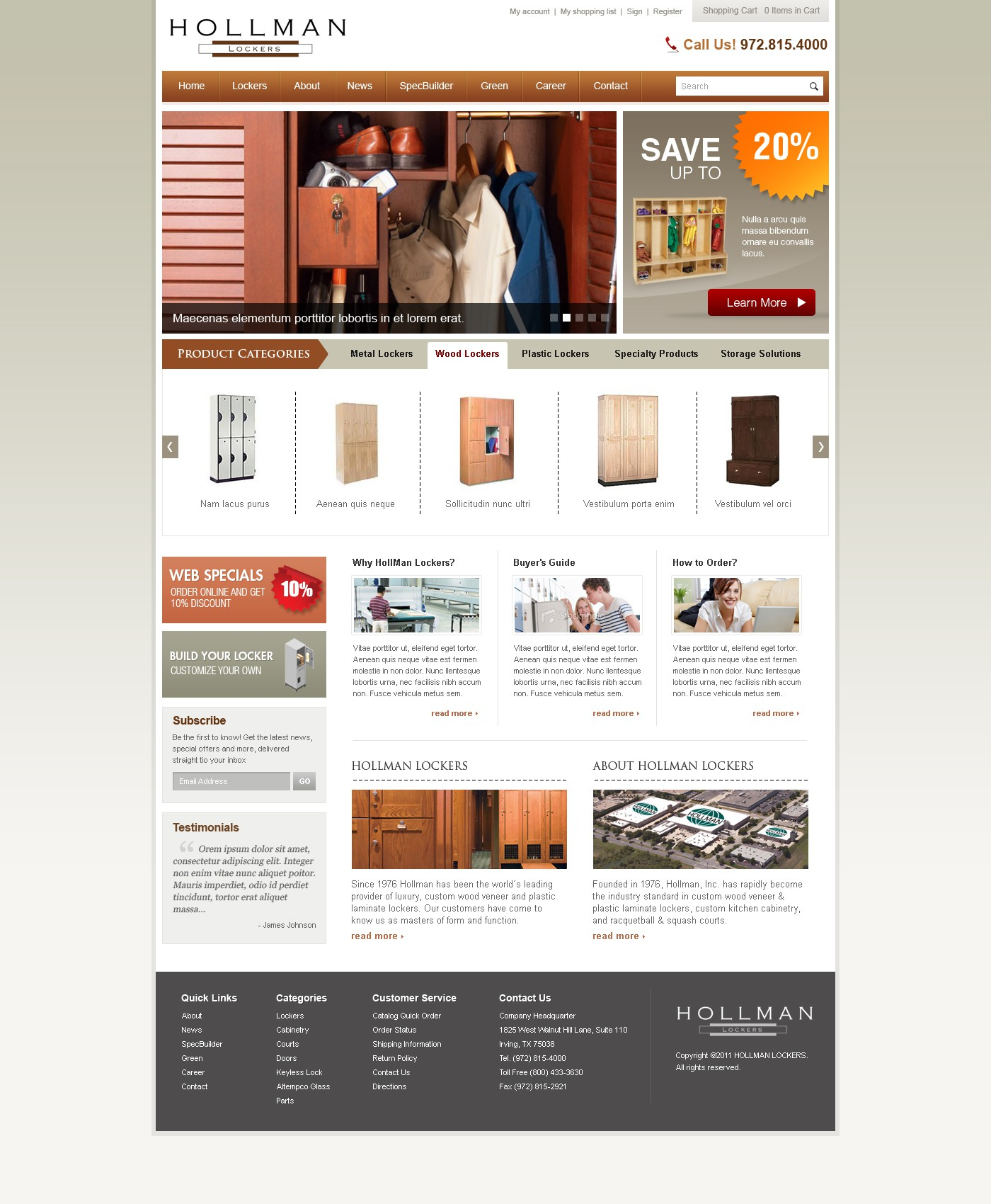 Hollman Lockers needs a new website design
