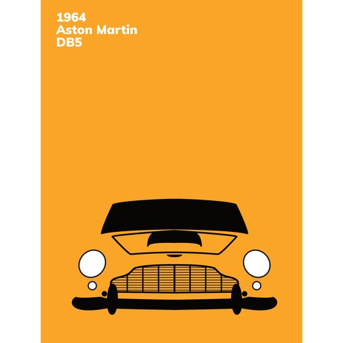 Abstract poster design for vintage car lovers featuring a 1964 Aston Martin DB5