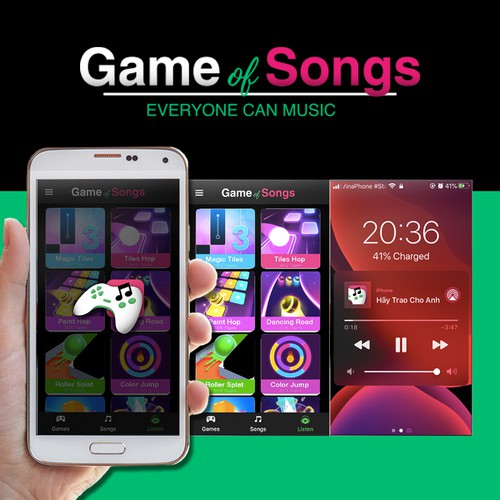 Responsive logo development for a music gaming app