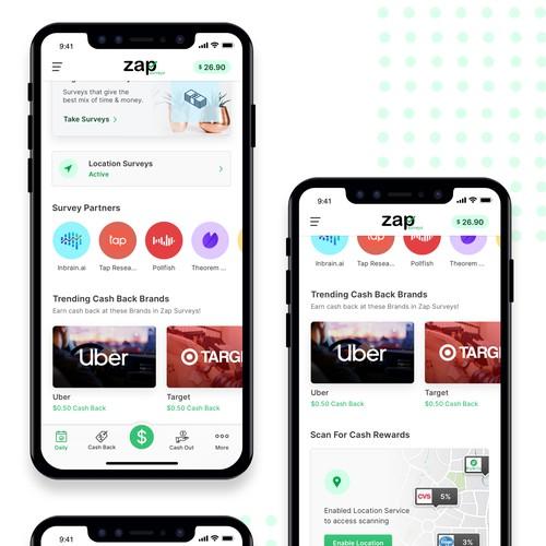App design concept for surveys cashback app