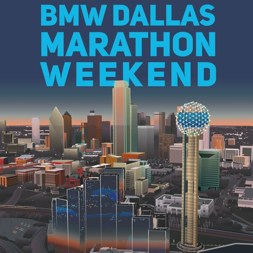 Vintage Poster for BMW Dallas Marathon